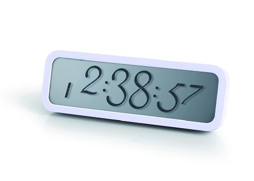 LCD budík SCRIPT, bílá
