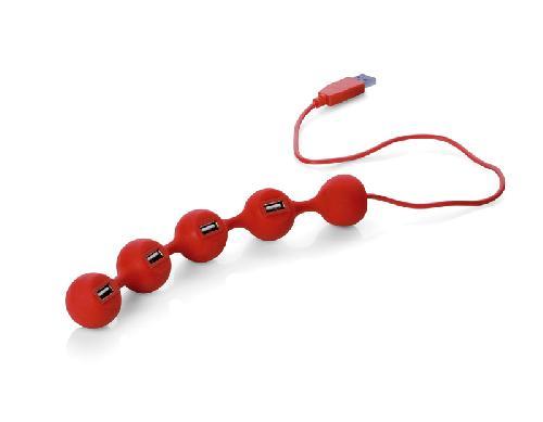 USB hub PEAS, 4 porty, červená